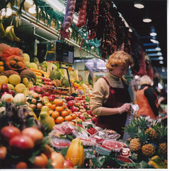 Boqueria 4 (virgorama) Tags: barcelona woman film frutas fruit spain market seagull mercado boqueria vegetales twinlens publishec