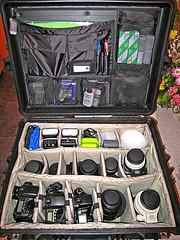 Setup for a Weekend of Wedding Snapping (fensterbme) Tags: interestingness snapshot gear equipment photogear photogearporn fensterbme pelicancase interestingness235 i500 gearp0rn canonsd800is explore24feb07 pelican1614