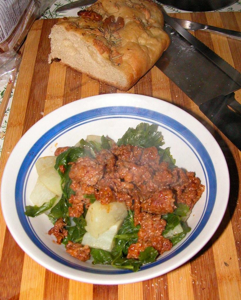 turnip greens, turnips, chorizo, fresh bread