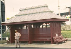 Shelter with lead (plomo) roof (Ron in Blackpool) Tags: old roof winter england brown haven rain bench seaside northwest wind maroon seat victorian tram lancashire ron promenade shelter lead blackpool curtis plomo gbst roninblackpool roncurtis