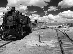 Shinny, Black and White the Sky's the Limit (Bodie Bailey) Tags: sky bw clouds landscape lumix nevada trains roadtrip steam mining ely railroads highway50