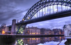 HDR Reflections (charminbayurr) Tags: longexposure bridge england water night clouds photoshop reflections river newcastle twilight millenium sage tyne gateshead east dust mapping tone hdr photomatix nort