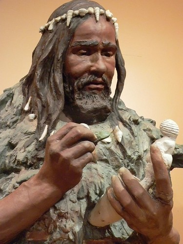 Sculpture of Cro-Magnon Man whose skeleton was...