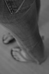 """Stolen"" Jeans (Evan Stoecker) Tags: blackandwhite feet angle legs jenny jeans expensive birdseyeview sandles"