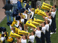 Cheer (bekahlp) Tags: football cheerleaders michigan annarbor bighouse centralmichigan universityofmichigan wolverines big10 goblue maizeandblue umvscmu