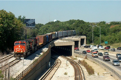 Eastbound Canadian National Railroad transfer train. Forest Park Illinois USA. August 2006. by Eddie from Chicago