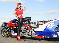 Holly_9883 (Fast an' Bulbous) Tags: top fuel bike motorcycle biker chick babe drag race strip track santa pod people outdoor girl woman hot hotty sexy model pinup pose long brunette hair legs shoes high heels stilettos red black leather pvc jeans leggings nikon d7100 gimp eurofinals