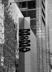 MOMA (charlottehathawayfeatherstone) Tags: new york architecture buildings blackandwhite monchrome building abstract texture outdoor text moma
