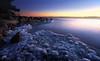 Darkening of a Cold Day (tinamar789) Tags: ice sea seashore seascape snow sunset winter lauttasaari helsinki finland wow