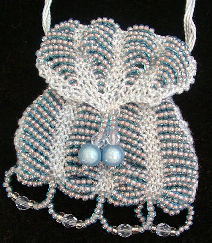 hand knitted purse with beads