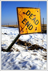 Dead End (i ea sars) Tags: winter usa naturaleza snow chicago nature sign america landscape dead illinois midwest scenery snowy farm hiver nieve natur end invierno rebelxt zima priroda canonrebelxt deadend   proda 10faves top20signs