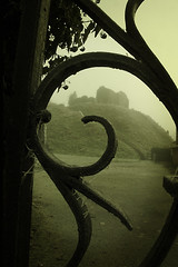 0063 The Saxon Stronghold (TriggerImage) Tags: england mist eye castle history fog island suffolk ruins bravo gate moody stock battle ironwork mound defences eastanglia defend mottandbailey castleremains