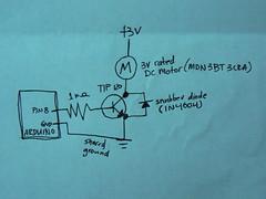 Arduino controlling a DC Motor: circuit diagram