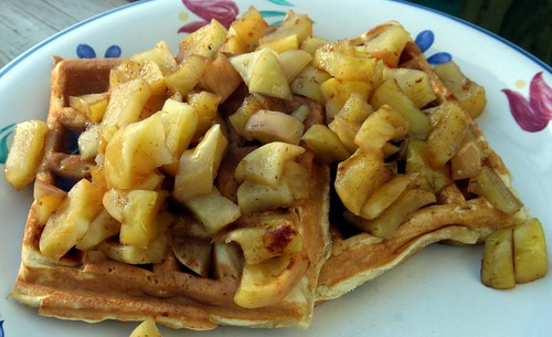 buttermilk waffle recipe. Sunday Morning Buttermilk Waffles With Cooked Apples (Recipe Included)