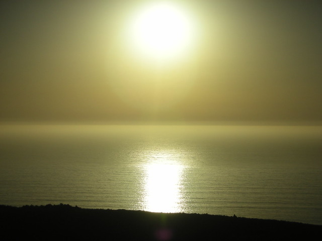 Golden sunset reflecting on the Pacific