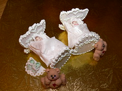 gum paste baby cradles (ineedathis) Tags: baby miniatures baking decorating teddybear booties babyshower cradle gumpaste cakedecorating sugarcraft