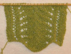 Gauge swatch for A Handsome Triangle