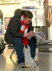 The Thinker (Herschell Hershey) Tags: street urban man station liverpool fan football alone candid railway futebol limestreet suncrossword rodinwiththesun