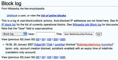 WikiPedia block log
