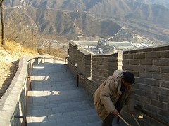 Cleaning the Steps on the Great Wall