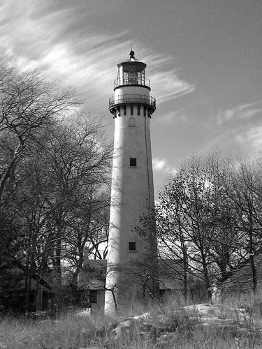 Evanston Lighthouse B&W