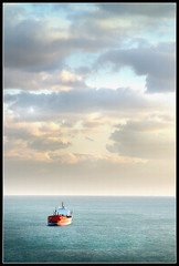 Boat (ILINA S.) Tags: ocean blue sunset sea nature water clouds boat cyan colorphotoaward ilinas