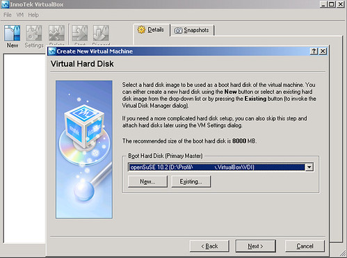 VirtualBox - virtualMachine - openSUSE10.2 - Virtual Hard Disk 6