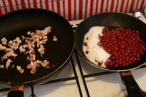 Guanciale and Currants Cooking Away