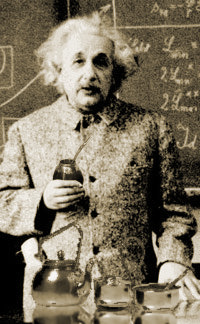 Einstein enjoying a cup of yerba