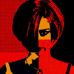Grrr (SwEeTcHy) Tags: red eye girl rojo chica pop popart hate naranja
