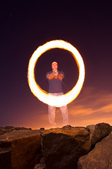 Ring of Fire (Toby Keller / Burnblue) Tags: california longexposure toby beach night fire keller d70 flash environmental jeremy location fullmoon newport spinning poi oc vivitar twirling 283 tobykeller offcamera strobist 1750mm burnblue