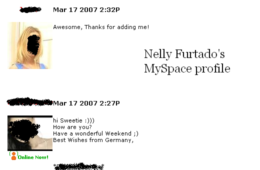 Random postings on Nelly Furtado's profile
