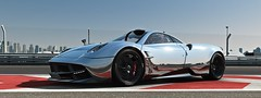 Revolutionary (alt.) (polyneutron) Tags: car photography pagani huayra silver chrome racing motorsport projectcars pcars pc automotive videogame photomode lines red white closeup sports supercar italy