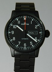 FORTIS Pilot Professional Day/Date Black (cnmark) Tags: black macro up closeup close watch professional wrist pilot pvd uhr fortis armbanduhr daydate allrightsreserved bahlmann