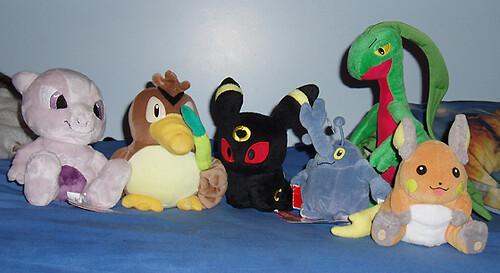 Pokemon Stuffed Toys - Mewtwo, Farfetch'd, Umbreon, Heracross, Grovyle, Raichu
