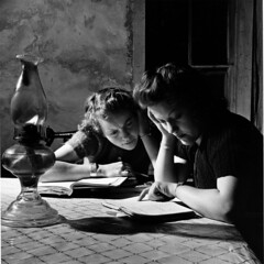 Homework on the Mutz ranch (John Collier Jr.) Tags: school blackandwhite bw usa history classic film museum america vintage collier us photographer unitedstates propaganda wwii documentary patriotic roosevelt historic professional worldwarii 1940s archives maxwell ww2 americana civildefense patriotism archival forties largeformat anthropology homefront worldwar2 40s fsa wartime newdeal owi waryears farmsecurityadministration officeofwarinformation johncollierjr