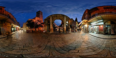 Suq Aftimos - Jerusalem, Old City - 360 (Sam Rohn - 360 Photography) Tags: street travel panorama architecture night geotagged photography israel photo interesting nikon arch peace exterior d70 nikond70 dusk availablelight palestine jerusalem middleeast paz location panoramic photograph pace judaism nikkor filmmaking stitched holyland filmproduction 360x180 oldcity magichour qtvr scouting 360 paix islamicarchitecture 360x180 panography alquds filmlocation locationscouting virtualtour locationscout equirectangular 105mmf28gfisheye filmlocations rohn muslimarchitecture filmscouting nylocations samrohn realvizstitcher bestofpalestinegroup locationscouts suqaftimos geo:lat=31777979 geo:lon=35230086 virtualjerusalem filmscout virtiualtour