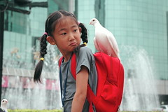 I am wondering if I can carry the peace (Luo Shaoyang) Tags: china street nikon peace action dove joy chinese beijing free nikond70s   joyful madeinchina streetshot  luo      actionphotos  beijinger   luoshaoyang