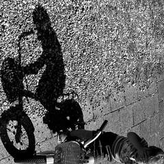 Shadow... (webted) Tags: street shadow bw white black girl bike kid child no shy fav schaduw novideo helluva wowiekazowie klickr4geselecteerd novideoonflickr
