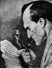 A closeup of Holmes with his pipe
