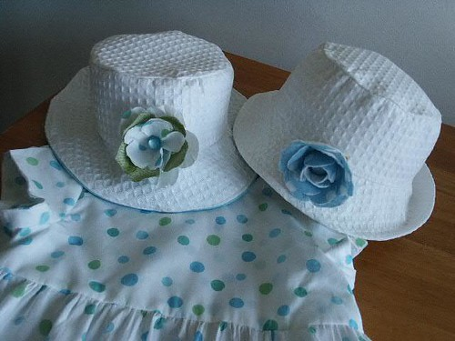 toddler White honeycomb cotton baby hats and pattern