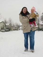Miriam's First Snow - Mom and Daughter