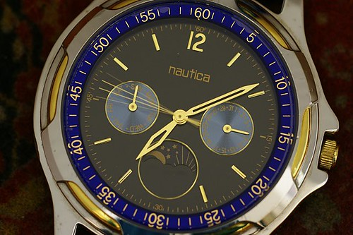 Men's Nautica two-tone leather blue dress watch