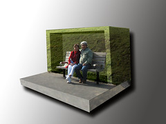 some bus stops are made of glass... (manyone1) Tags: photoshop busstop elements imagemanipulation slab oob