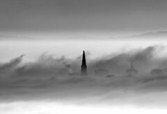 Transamerica Sunrise (Rob Kroenert) Tags: sanfrancisco california morning usa white black tower fog sunrise san francisco downtown pyramid transamerica transamericapyramid sfchronicle96hrs