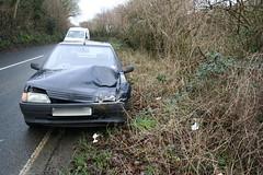 I'm okay! (Sir Digby Chicken Caesar) Tags: car ouch smash crash hedge bang wink smack peugeot carcrash bodmin wadebridge washaway a389 dunmere stupidhitchhiker