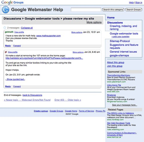 Google Groups Webmaster Help Thread