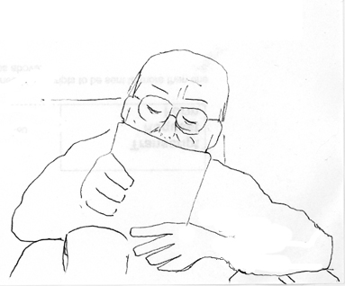 drawing of my dad, reading