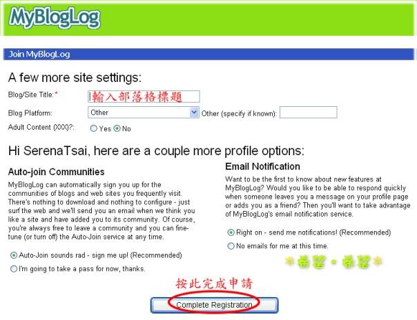 MyBlogLog - Step 2