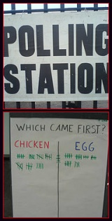Polling with a poll on what came first, chicken or the egg